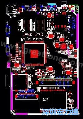 上图是一个开发板的pcb,从布局中可以看出各个接口电路分离很明确
