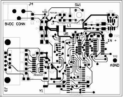 采用自动布线为图3所示电路原理图设计的电路板的