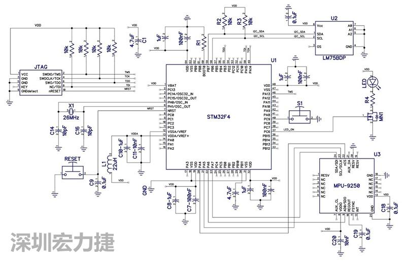 stm32f4微控制器的电路图.